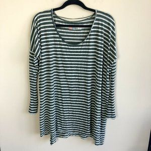 Free People beach green white striped tunic top OS